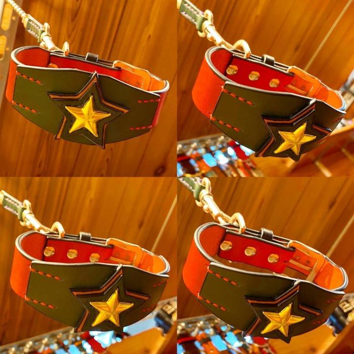 ☆BIG☆ワンスター☆・・・・・☆ベースの首輪の幅は3cm幅で、星の土台部分の1番太い所で、5cm幅になっています☆・☆星の部分は、計4枚の革を重ねてありますし、星スタッズを中心に打っているので、立体的になっていて迫力満点です☆・・・☆通常通り、スタッズ・革・ステッチの色もお好みで選べるので、ド派手な首輪にもカスタムして頂けます☆・☆こちらの配色は、レザーが、赤×緑×ナチュラルで、星スタッズがゴールドになっています☆・・・☆今週も本日と明日の営業になります☆・・・#original #leather #accessories #dogcollar #blacelet #wristband #star #studs #handmade #kagoshima #dog #dogs #dogstagram #instadog #doglover #doglife #italiangreyhound #whippet #miniaturepinscher #doberman #pitbull #americanbully #犬 #首輪 #星 #イタリアングレーハウンド #ウィペット #ドーベルマン #ピットブル #鹿児島